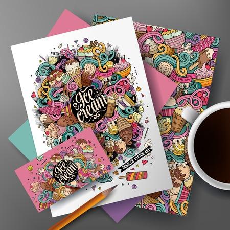 Ilustración de Corporate Identity vector set. Templates on the table with the ice cream doodles hand drawn design. - Imagen libre de derechos