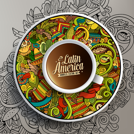 Vektor für Vector illustration with a Cup of coffee and hand drawn Latin American doodles on a saucer and on the background - Lizenzfreies Bild