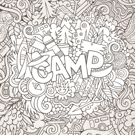 Cartoon sketchy cute doodles hand drawn illustration. Line art picture with camping theme items. Doodle inscription Camp