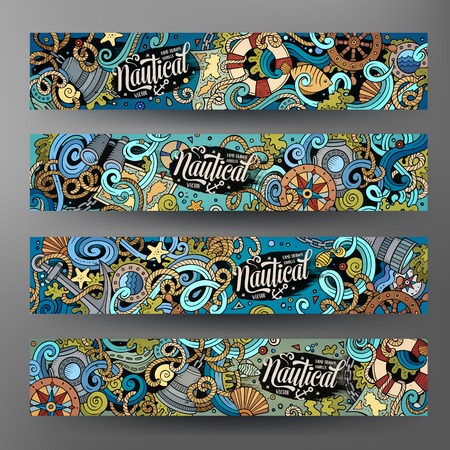 Cartoon cute colorful vector hand drawn doodles nautical corporate identity. 4 horizontal banners design. Templates set