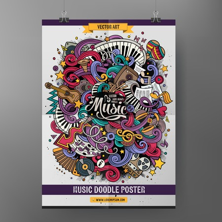 Illustration for Cartoon colorful hand drawn doodles musical poster template. Very detailed, with lots of music objects illustration. Funny vector artwork. Corporate identity design. - Royalty Free Image