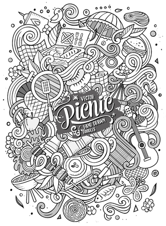 Illustration pour Cartoon cute doodles hand drawn picnic frame design. Line art detailed, with lots of objects background. Funny vector illustration. Sketchy border with nature theme items - image libre de droit