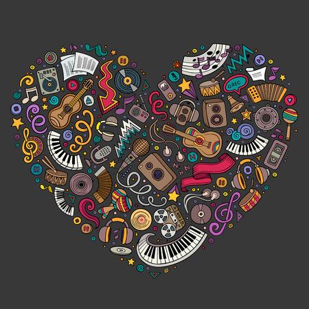 Illustration pour Colorful vector hand drawn set of Music cartoon doodle objects, symbols and items. Heart form composition - image libre de droit