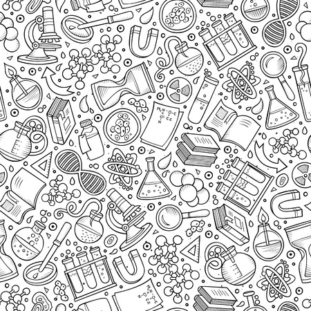 Illustration for Cartoon cute hand drawn Science seamless pattern. Line art detailed, with lots of objects background. Endless funny vector illustration. Sketchy scientific backdrop. - Royalty Free Image