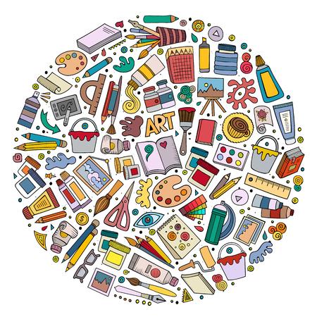 Illustration pour Colorful vector set of Art cartoon doodle objects - image libre de droit