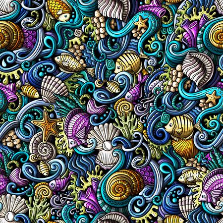 Ilustración de Cartoon doodles under water life seamless pattern - Imagen libre de derechos
