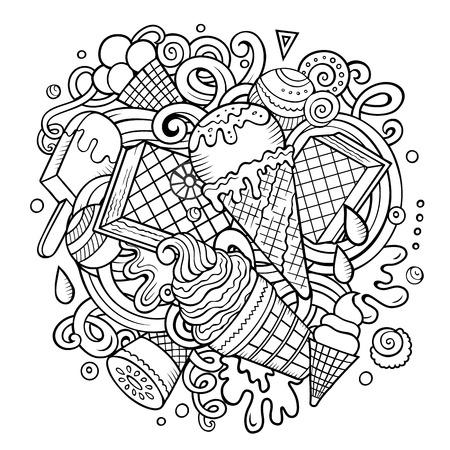 Ilustración de Cartoon hand-drawn doodles Ice Cream illustration - Imagen libre de derechos
