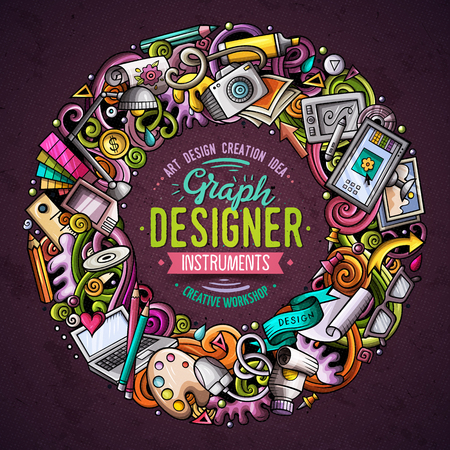 Illustration pour Cartoon vector doodles Design round frame design. Colorful detailed, with lots of objects illustration. All items are separate. Bright colors Art funny border - image libre de droit
