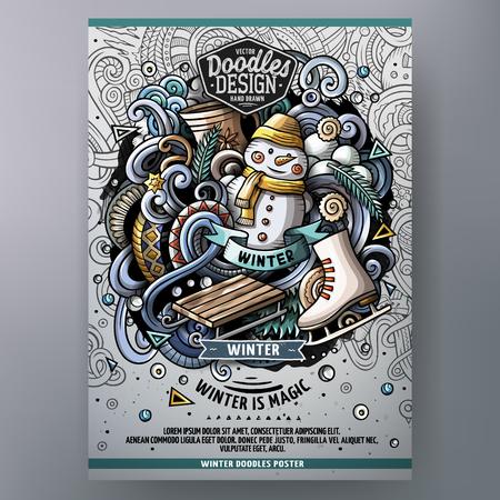 Ilustración de Cartoon hand drawn doodles Winter poster design template. Very detailed, with lots of separate objects illustration. Funny vector artwork. - Imagen libre de derechos