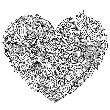 Illustration pour Abstract decorative floral ethnic doodles heart composition. Vector line art background - image libre de droit
