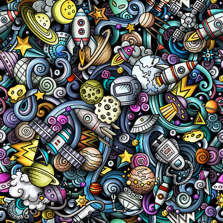 Illustration pour Cartoon cute doodles Space seamless pattern. Colorful detailed, with lots of objects background. All objects separate. Backdrop with cosmic symbols and items - image libre de droit