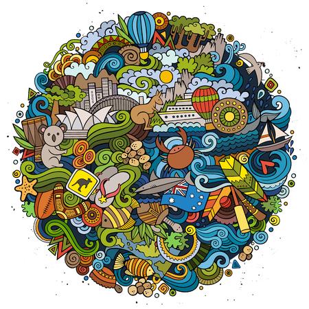 Illustration pour Australian doodles elements and symbols round illustration - image libre de droit