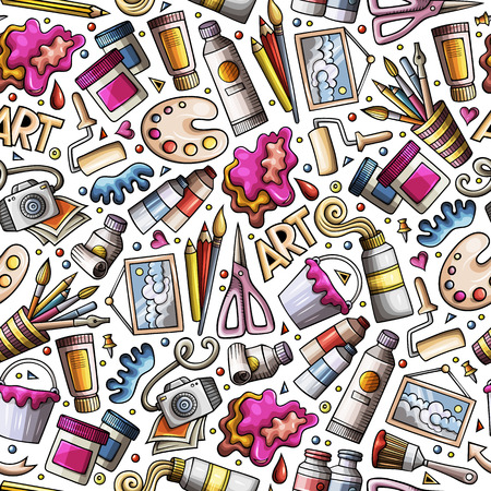 Illustration pour Cartoon cute hand drawn Design and Art seamless pattern - image libre de droit