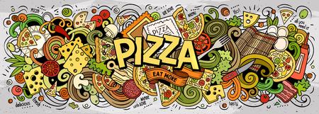 Illustration pour Cartoon cute doodles Pizza word - image libre de droit