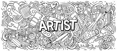 Illustration pour Cartoon cute doodles Artist word - image libre de droit