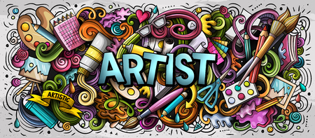 Illustration pour Cartoon cute doodles Artist word. Colorful horizontal illustration. Background with lots of separate objects. Funny vector artwork - image libre de droit