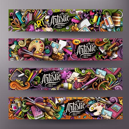Illustration pour Cartoon cute colorful vector hand drawn doodles Artist corporate identity. 4 horizontal banners design. Templates set. All objects separate - image libre de droit