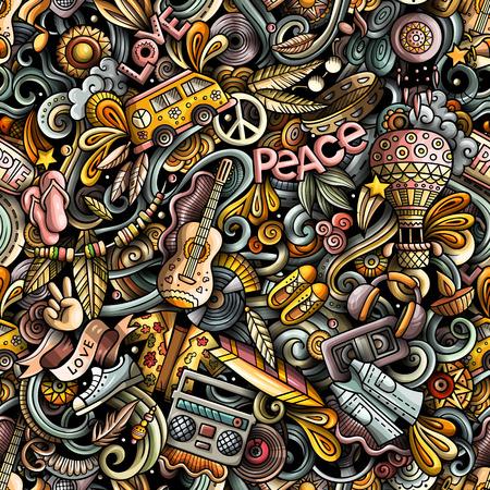 Illustration pour Hippie hand drawn doodles seamless pattern. Hippy background. - image libre de droit