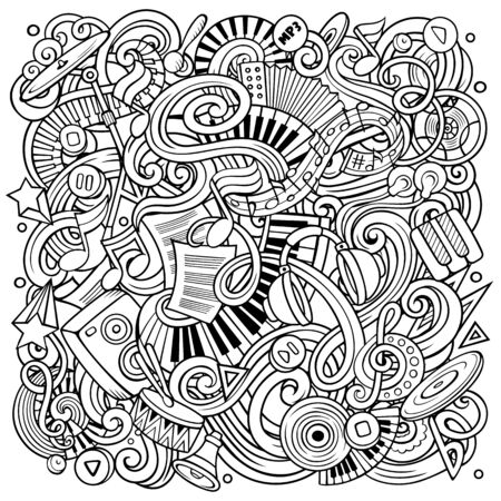 Music hand drawn vector doodles illustration  Musical poster