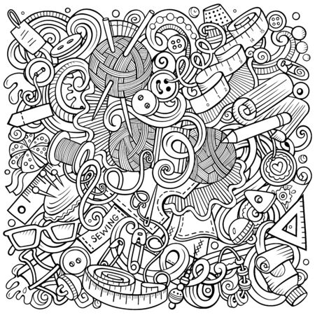 Illustration pour Hand Made hand drawn vector doodles illustration. Handmade poster design. Sewing elements and objects cartoon background. Sketchy funny picture. All items are separated - image libre de droit