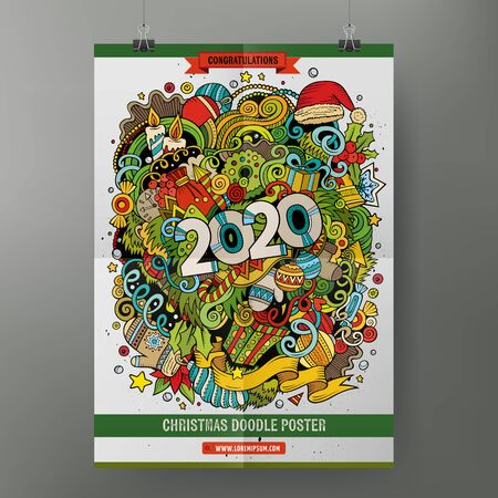 Illustration for Cartoon colorful hand drawn doodles 2020 Year poster template. Very detailed, with lots of objects illustration. Funny vector artwork. Corporate identity design - Royalty Free Image