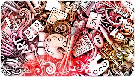 Illustration pour Artist hand drawn doodle banner. Cartoon detailed illustrations. - image libre de droit