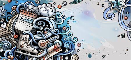 Winter hand drawn doodle banner. Cartoon detailed flyer.