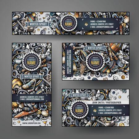 Illustration pour Corporate Identity vector templates set design with doodles Winter sport - image libre de droit