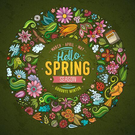 Vektor für Colorful vector hand drawn set of Spring cartoon doodle objects - Lizenzfreies Bild