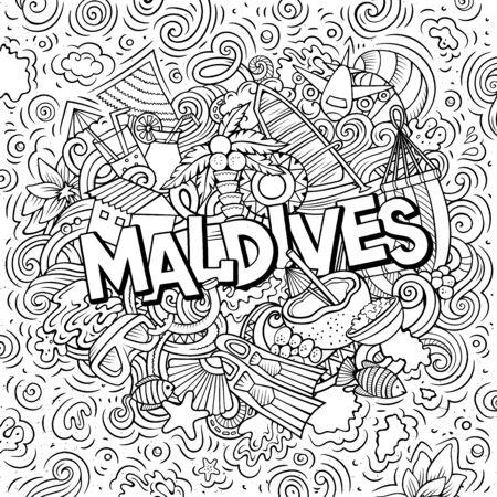 Illustration pour Maldives hand drawn cartoon doodles illustration. Funny travel design. - image libre de droit