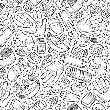 Illustration for Hand wash hand drawn doodles seamless pattern. Protective measures background. - Royalty Free Image