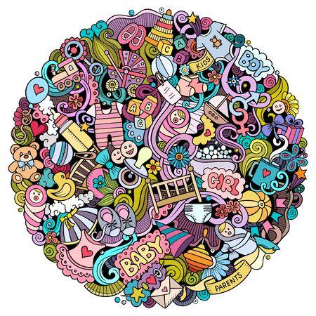 Illustration pour Baby hand drawn vector doodles funny illustration. - image libre de droit