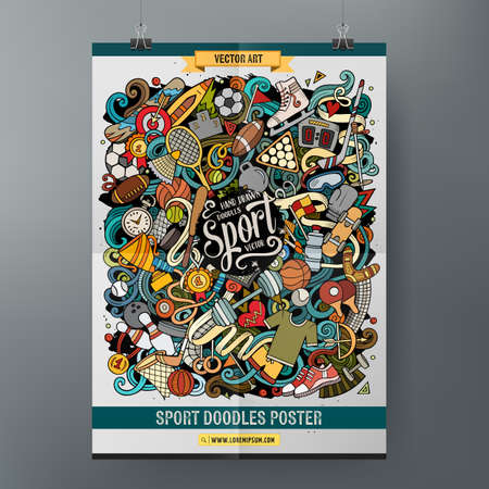 Illustration for Cartoon colorful hand drawn doodles Sports poster - Royalty Free Image