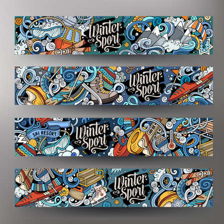 Illustration pour Winter sport hand drawn doodle banners. Cartoon detailed flyer. Cold activities identity with objects and symbols. Ski resort illustrations. Color vector design elements background - image libre de droit