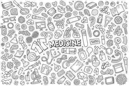 Illustration for Line art vector hand drawn doodle cartoon set of medicine theme items, objects and symbols - Royalty Free Image