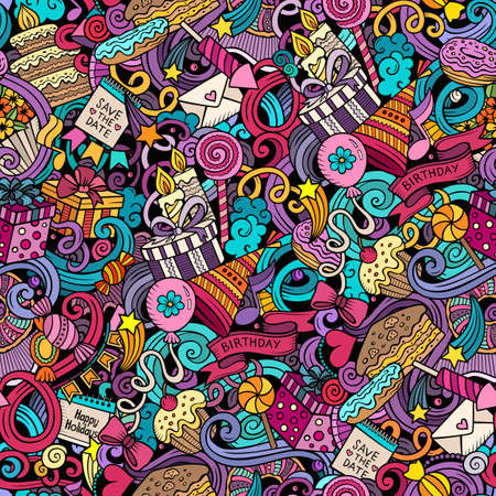 Illustration pour Happy Birthday hand drawn doodles seamless pattern. Holiday background. Cartoon cheerful fabric print design. Colorful vector festive illustration - image libre de droit