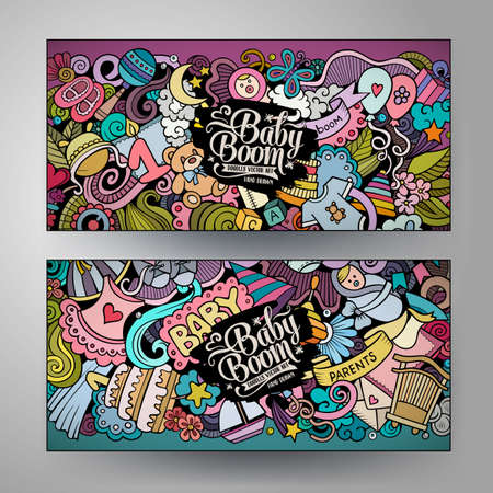Illustration for Cartoon cute colorful vector doodles Baby corporate identity. 2 horizontal banners design. Templates set - Royalty Free Image