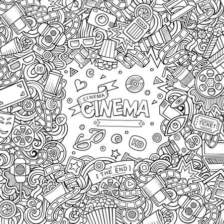 Illustration for Cartoon cute doodles hand drawn cinema frame design. Sketchy detailed, with lots of objects background. Funny vector illustration. Line art border with movie theme items - Royalty Free Image