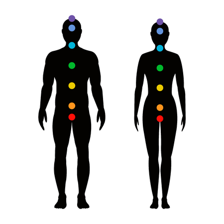 Ilustración de chakras on the body. Silhouettes of men and women with seven colored sacred points. Vector illustration. - Imagen libre de derechos
