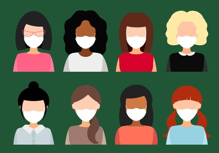 Illustration pour girls and women in medical masks, vector flat illustration. collection of female avatars. - image libre de droit