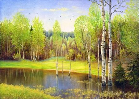 Photo pour Spring wood lake with trees and bushes - image libre de droit