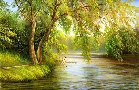 Photo pour summer wood lake with trees and bushes - image libre de droit