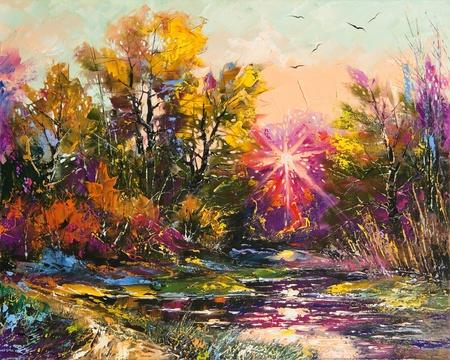 Photo pour Oil Painting - Autumn decline - image libre de droit