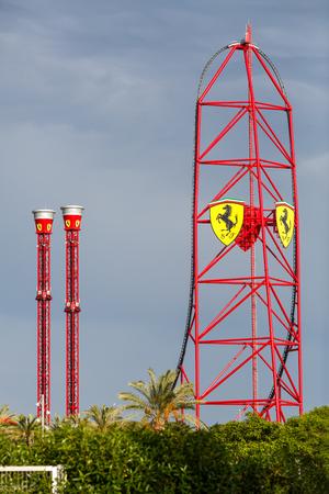 Foto de Ferrari Land roller coaster. Salou, Spain. - Imagen libre de derechos