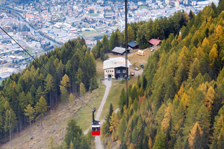 Middle station of the Goldeck cable car at the altitude of 1650 m. Town of Spittal an der Drau, Alps mountains, Carinthia, Austria