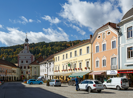 GMUEND IN KAERNTEN, AUSTRIA - OCTOBER 10, 2017. Historical downtown. Gmuend in Kaernten, district of Spittal an der Drau, federal state of Carinthia.
