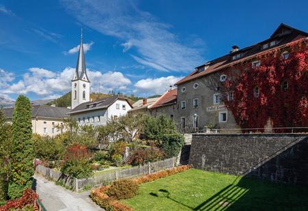 GMUEND IN KAERNTEN, AUSTRIA - OCTOBER 10, 2017. Historical center of Gmuend. Assumption church. Gmuend in Kaernten,  district of Spittal an der Drau, federal state of Carinthia,  Austria