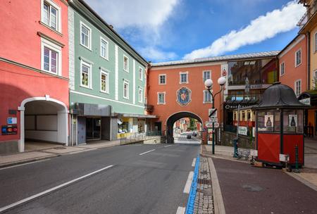 SPITTAL AN DER DRAU/ AUSTRIA - OCTOBER 8, 2017. Old street in the historical downtown of Spittal an der Drau. Gurktal Alps (Nock Mountains), state of Carinthia, Austria.