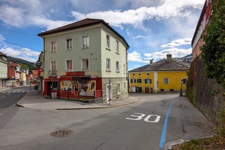 SPITTAL AN DER DRAU/ AUSTRIA - OCTOBER 8, 2017. Downtown of Spittal an der Drau. Gurktal Alps (Nock Mountains), state of Carinthia, Austria