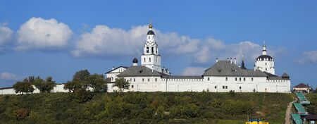 Panoramic view of the Assumption male monastery of 16th century in summer. island town of Sviyazhsk, Republic of Tatarstan, Russian Federation.
